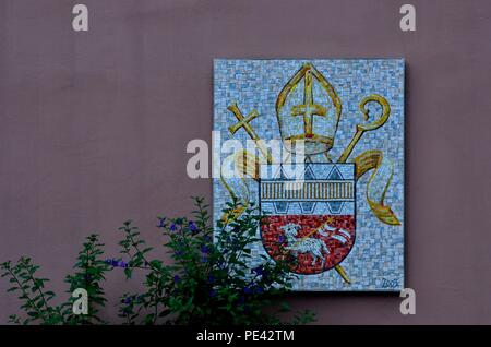 Coat of arms, bishop's crest, episcopal see, faith, religion, Innsbruck, Austria, Europe - Stock Photo