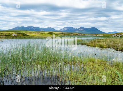 The Twelve Pins or Bens from Lough Cloonagat on the Clifden bog road in Connemara County Galway Ireland - Stock Photo