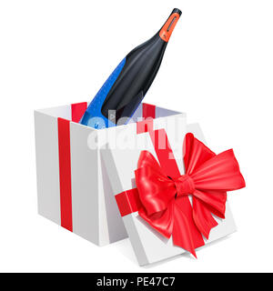 Gift concept. Nose, ear and eyebrow hair trimmer inside gift box. 3D rendering isolated on white background - Stock Photo