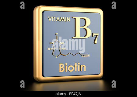 Chemical Formula Of Vitamin B7 Biotin With Some Red Pills Stock
