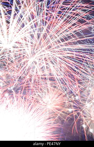 Fireworks over Portage Lakes in Portage Ohio on July 4th - Stock Photo