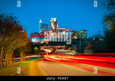 A beautiful night landscape of downtown Raleigh, North