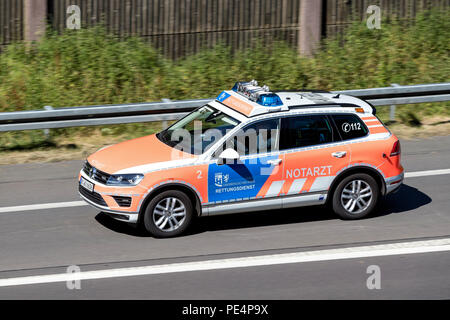 German emergency physician car of the Oberberg distict on motorway. - Stock Photo