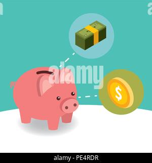 business piggy bank coin and pile banknote money isometric