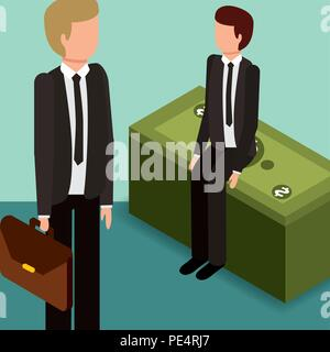 businessmen with briefcase and pile banknotes money isometric - Stock Photo