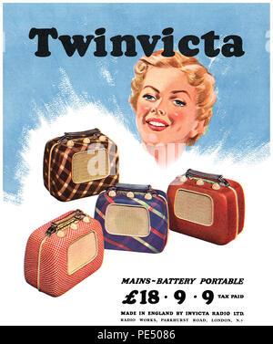 1951 British advertisement for the Twinvicta portable radio by Invicta Radio. - Stock Photo