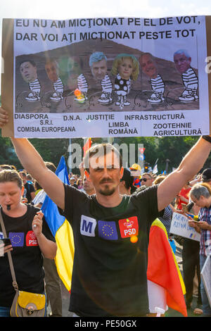 Bucharest, Romania - 10 August 2018: Young man protesting at the Diaspora protest against the way Romania is governed by Social Democrats - Stock Photo