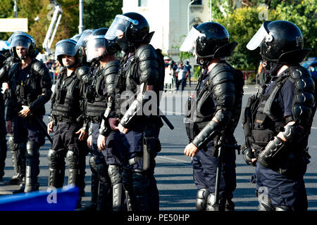 Bucharest, Romania - 10 August 2018: Riot police prepared to supress the manifestation during the protest of Diaspora when tens of thousands of protes - Stock Photo