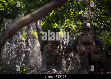 U.S. Marines storm a hill to prepare for a full battalion-scale assault exercise during Korean Marine Exchange Program 15-12 at Rodriguez Landing Zone, Republic of Korea, Sept. 25, 2015. KMEP 15-12 is a bilateral training exercise that enhances the ROK and U.S. alliance, promotes stability on the Korean Peninsula and strengthens ROK and U.S. military capabilities and interoperability. The Marines are with Fox Company, 2nd Battalion, 3rd Marine Regiment, currently assigned to 4th Marine Regiment, 3rd Marine Division, III Marine Expeditionary Force under the unit deployment program. (U.S. Marine - Stock Photo
