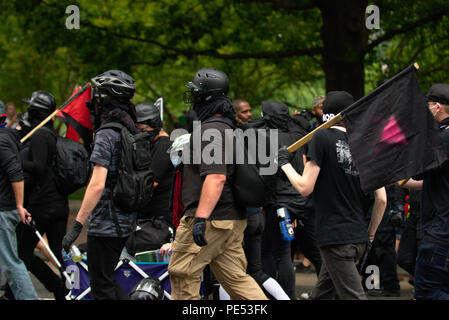 counter protesters at Layette square in front of  the White House during Unite the Right rally - Stock Photo