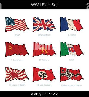 World War Two Waving Flag Set. The set includes flags from all the major Axis and Allies participants. Vector Icons all elements neatly on Layers n Gr - Stock Photo