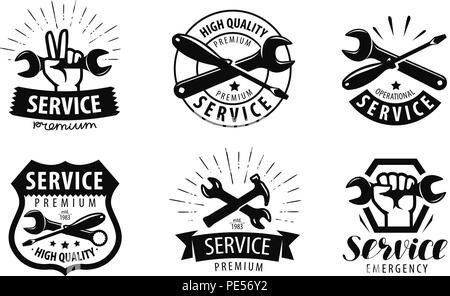 service, repair set of logos or labels. maintenance icon. vector illustration - Stock Photo