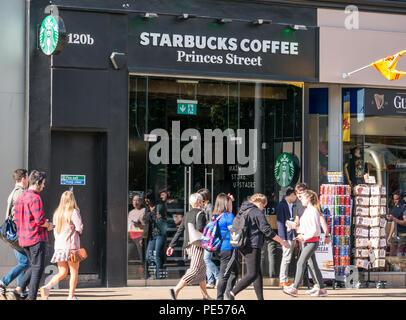 Frontage Of Starbucks Coffee Shop Princes Street Edinburgh