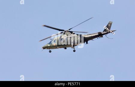 Belgian Air Component - Agusta A109BA light attack and reconnaissance helicopter from 1 Helicopter Wing, Beauvechain at the 2018 Air Tattoo - Stock Photo