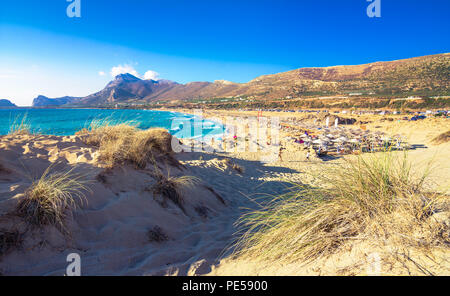 Famous sandy beach of Falasarna at the north west of Chania, Crete, Greece. - Stock Photo