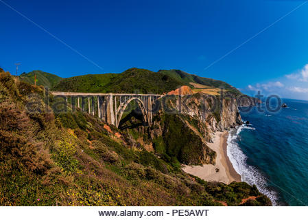 The Bixby Bridge along the Big Sur coast between Carmel Highlands and Big Sur, California USA. - Stock Photo