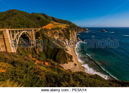 The Bixby Bridge along the Big Sur coast between Carmel Highlands and Big Sur, California USA. - Stock Photo