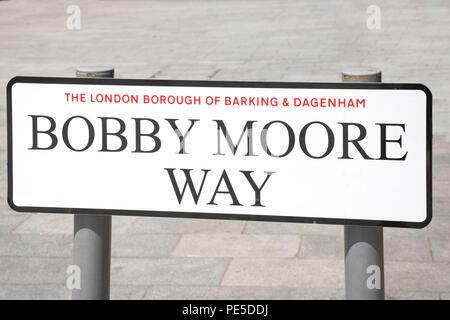 Bobby Moore Way road sign, Barking, Barking, London Borough of Barking and Dagenham, Greater London, England, United Kingdom - Stock Photo