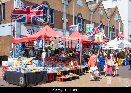 Street market stalls, Ilford High Road, Ilford, London Borough of Redbridge, Greater London, England, United Kingdom - Stock Photo