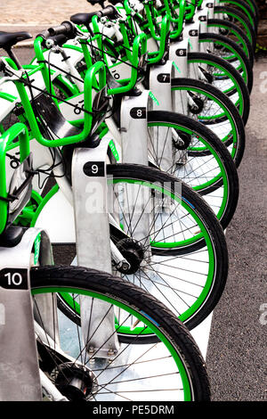 Bicycles for rent in the city of Bergen, Norway. - Stock Photo