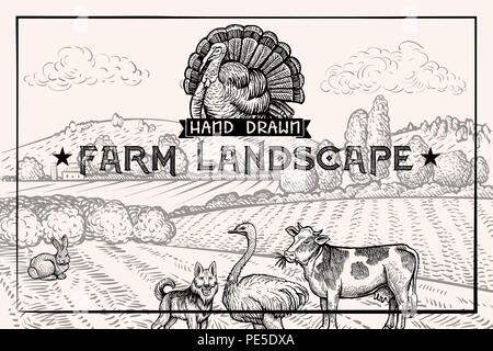 Vintage barn landscape and Farm animals Ostrich and Cow. Textured Horizontal Poster Template. Retro styled Sketched Engraving vector illustration for Cover Design with Turkey Logo and Guard Dog - Stock Photo