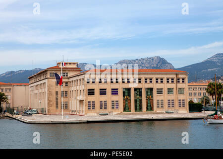 Maritime Prefecture of the Mediterranean building being the representative of the State at sea in Toulon along the harbour in the south-east of France - Stock Photo