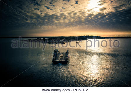 River Ferry at Martha's Vineyard. Sunset on the northern coasts. - Stock Photo