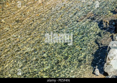 Sun light reflections on clear water ripples - Stock Photo