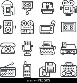 Vector Retro Technology Outline Icon Set. Cassette, Retro typing, Radio, Dial Phone and more. - Stock Photo