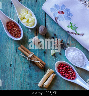 A variety of raw dry spices .  Studio Photography. Closeup. Stock Image. - Stock Photo