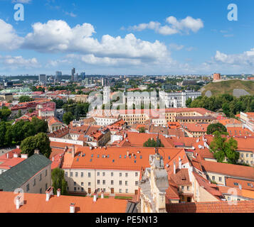 View over the Old Town from St Johns Church bell tower, looking toward the Cathedral and Gediminas Hiill, Vilnius University, Vilnius, Lithuania - Stock Photo