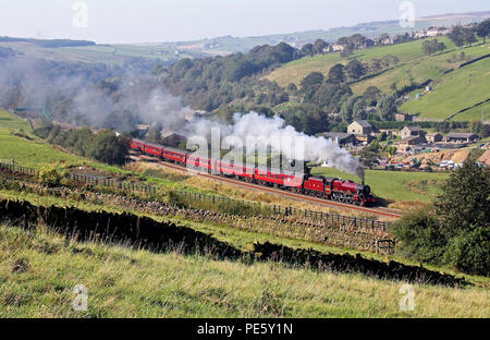 5690 Leander heads upto Diggle with the Cotton Mills Express. - Stock Photo