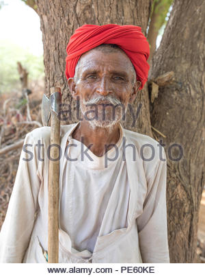 ANDOURE, RAJASTHAN INDIA - JUN 09, 2017:  rural man from choudhary commuinity wearing traditional turban and casual, this community know as Farmer And - Stock Photo
