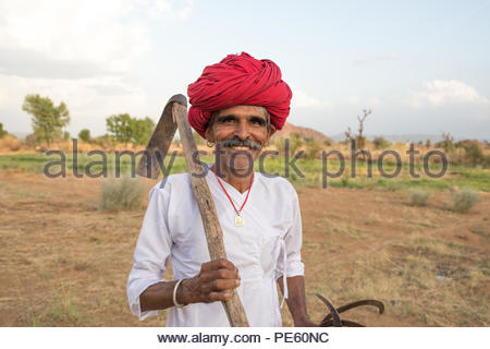 ANDOURE, RAJASTHAN INDIA - JUN 10, 2017:  rural man from choudhary commuinity wearing traditional turban and casual, this community know as Farmer And - Stock Photo