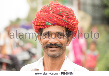 JAWAIBANDH, RAJASTHAN INDIA - Jul 30, 2017:  rural man from Choudhary commuinity wearing traditional turban and casual, this community know as Farmer  - Stock Photo