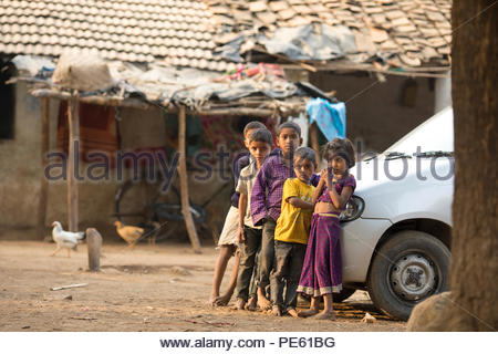 SARUPGANJ, RAJASTHAN, INDIA - JAN 09, 2017 ; An unidentified Indian Children in Village happy to poses for camera, Sarupganj, Rajasthan-India on Jan 0 - Stock Photo