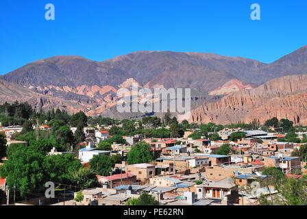 beautiful andean village Tilcara at UNESCO world culture heritage Quebrada de Humahuaca, north of Argentina, Salta, South America - Stock Photo