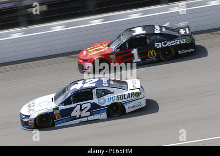 Brooklyn, Michigan, USA. 12th Aug, 2018. Kyle Larson (42) and Jamie McMurray (1) battle for position during the Consumers Energy 400 at Michigan International Speedway in Brooklyn, Michigan. Credit: Chris Owens Asp Inc/ASP/ZUMA Wire/Alamy Live News - Stock Photo