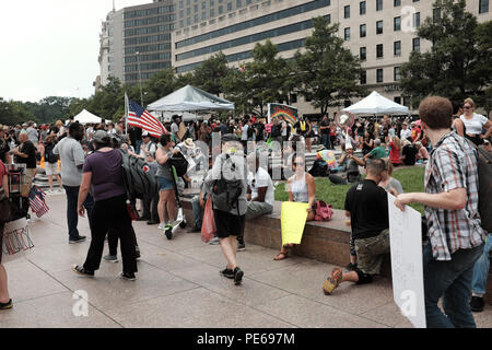 Washington D.C., USA. 12th August, 2018. Anti-Alt Right protesters gather in Freedom Park to counterprotest against the simultaneously occuring white nationalist rally in another nearby park.  Credit: Mark Kanning/Alamy Live News. - Stock Photo