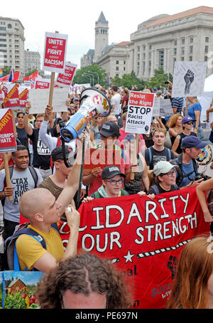 Washington D.C., USA. 12th August, 2018. Counterprotesters to the alt-right white nationalist rally in Lafayette Park leave their staging area at Freedom Park to make their way through the streets of Washington D.C. until they reach Lafayette Park. Credit: Mark Kanning/Alamy Live News. - Stock Photo