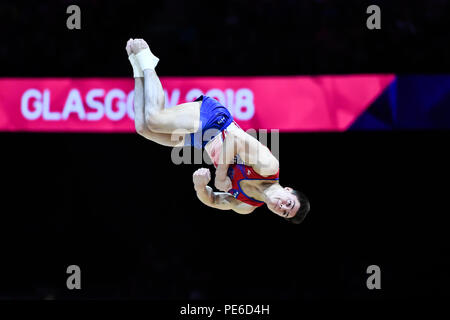 Glasgow, Scotland, UK. 12th August 2018. competes on the Floor Exercise in Men's Artistic Gymnastics Apparatus Finals during the European Championships Glasgow 2018 at The SSE Hydro on Sunday, 12  August 2018. GLASGOW SCOTLAND. Credit: Taka G Wu - Stock Photo