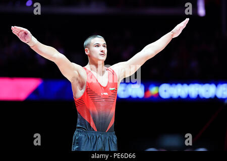 Glasgow, Scotland, UK. 12th August 2018. competes on the Vault in Men's Artistic Gymnastics Apparatus Finals during the European Championships Glasgow 2018 at The SSE Hydro on Sunday, 12  August 2018. GLASGOW SCOTLAND. Credit: Taka G Wu - Stock Photo
