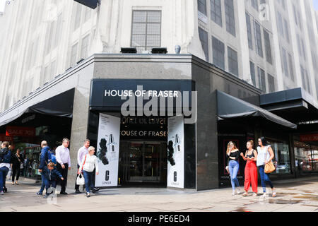 London UK.  House of Fraser Flagship in Oxford Street. 13th August 2018. The House of Fraser Group which was under administration as 58 stores faced the threat of closure is now under new ownership after been purchased for £90 Million by businessman Mike Ashley, who also owns English Premier League soccer club Newcastle United Credit: amer ghazzal/Alamy Live News - Stock Photo