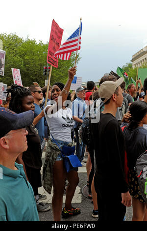 Washington D.C. USA.  12th August, 2018.  Counterdemonstrators march in Washington D.C. towards Lafayette Square where the 'Unite the Right 2' rally of the alt-right is being held. Credit: Mark Kanning/Alamy Live News. - Stock Photo