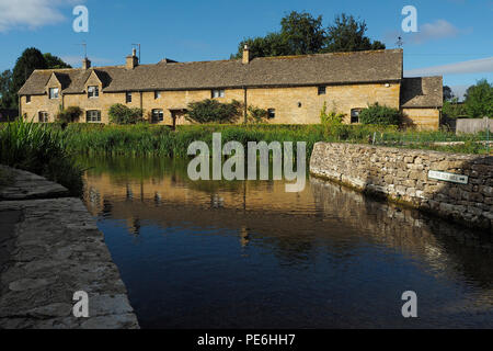 Cotswold Stone Cottages, Lower Slaughter, The Cotswolds - Stock Photo