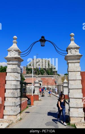 Entrance of the Old Fortress, Corfu Town, Corfu, Greece, Europe - Stock Photo