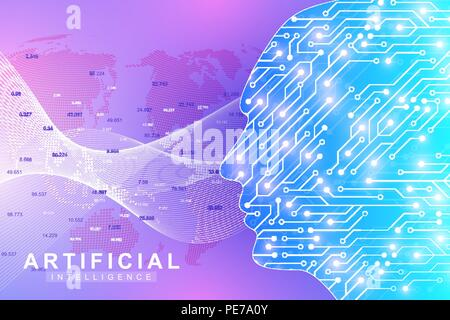 Futuristic Artificial Intelligence and Machine Learning Concept. Human Big Data Visualization. Wave Flow Communication, Scientific vector illustration. - Stock Photo