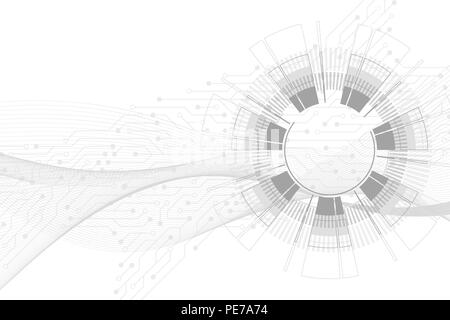 Abstract background with technology circuit board texture. Futuristic digital circle. Communication and engineering concept. Innovation technology concept design wave flow. Vector illustration - Stock Photo