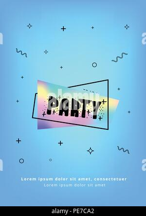 Vertical Party flyer. Holography elements. Template for holiday design. Vector illustration. - Stock Photo