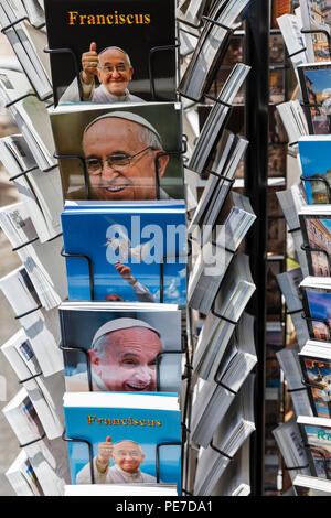 A rack of postcards of Pope Francis in Rome, Italy. - Stock Photo